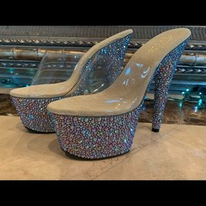 Brand New Pleaser Gold Bejeweled Heels Size 9